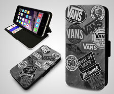 Vintage Vans Off The Wall Poster Collage Flip Wallet Leather Phone Case Cover