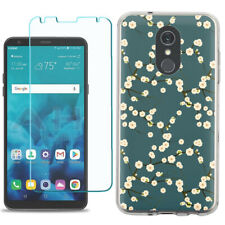 TPU Phone Case for LG Stylo 5 w/ Tempered Glass - Blossom Green