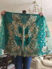 , blue green shocking top colour with golden embroidery on top and lengha
