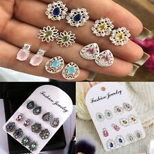 Multicolor Crystal Earring Ear Stud 6Pair/Set Retro Vintage Hollow Carved Silver