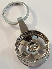 CHROME ALLOY WHEEL KEYRING 5 SPOKE DISHED SPLIT RIM GREAT XMAS NOVELTY GIFT IDEA