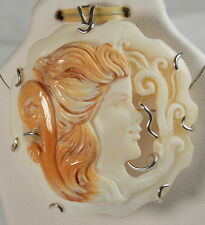 HSN Italy Cameo by M+M Scognamiglio 45mm Cornelian 925 Triple-Carved Pin/Pendant