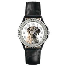 American Mastiff Dog Photo Design Ladies Cubic Zirconia Leather Band Watch Sgp33