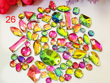AB Colors 100 Pieces Sew on Gems Mixed Shapes Flat Back size 6-40mm has holes