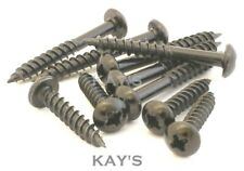 """50 of  8g x 1.5/"""" TRADITIONAL SLOT PAN ROUND HEAD BLACK JAPANNED WOOD SCREWS *"""