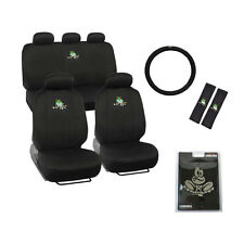 New Set Green Tree Frog Front Rear / Back Car Full Seat Covers & Emblem & More