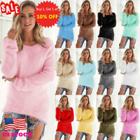 Womens Long Sleeve Knitted Sweater Casual Pullover Tops Cardigan Outwear Jumper