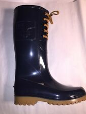 pre-loved authentic SEE by CHLOE size 40 navy blue RUBBER RAIN BOOT wellingtons