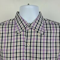 Peter Millar Black Purple Brown Check Plaid Mens Dress Button Shirt Size Large L