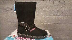 Girls Kids Sketchers Zip Up Memory Foam Warm Winter Mid Calf Boots Shoes Size