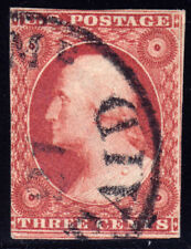 """#11 - 3 Cent 1851-7, 53R4, plated by Watt, black Maine with integral """"PAID"""" CDS"""