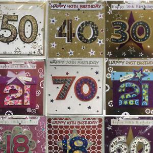 Hand Made Birthday Celebration Card 18th 21st 30th 40th 50th 60th 70th 80th 90th