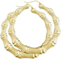 18k Layered Real gold Filled Round Bamboo earrings 70mm