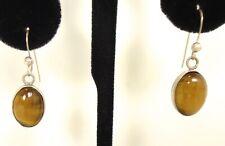 Vtg Tiger Eye Gemstone & Sterling Silver Pierced Dangle Earrings