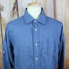 Men's 100% Linen Button Shirt Large Long Sleeve Blue Margaritaville Pre Owned