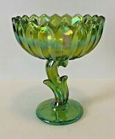 VTG Green Carnival Glass Serving Bowl Tulip Motif & Stemmed Home & Garden Kitch