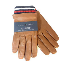 TOMMY HILFIGER Genuine Leather Fleece Lined Touchscreen Gloves Brown (MSRP $88)