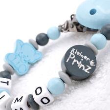 Schnullerkette mit Namen Junge kleiner Prinz & Elefant blau grau Geschenk Baby