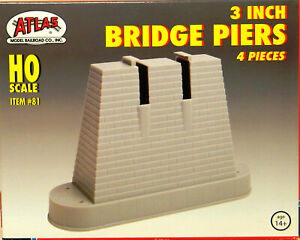 NEW HO Atlas #81 3 Inch Bridge Piers 4 Piece Set