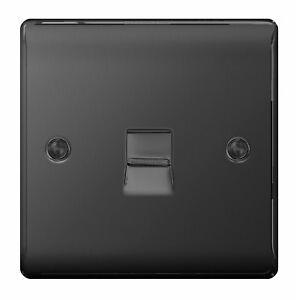 Metal Matt Black Secondary BT Phone Outlet - Slave Socket with Flush Edge