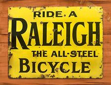 "TIN SIGN ""Raleigh Bicycle"" Cycle Bike Garage Rustic Wall Decor"
