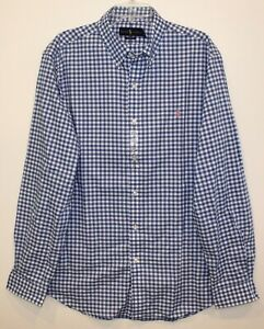 Polo Ralph Lauren Mens Blue White Check Button-Front Shirt NWT Size L