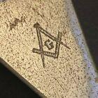 """c1940's-50's 5"""" Freemason Trowel Letter Opener - Olive Green Wooden Handle"""
