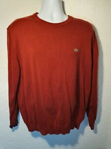 LACOSTE Men's Crew Neck Sweater Knit Dark Red Classic (Size 6/L)