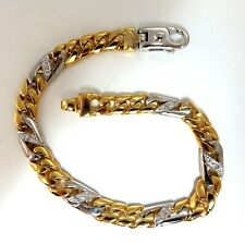 Authentic Italian Braccio Mens Diamond Curb Link Bracelet 14 Karat