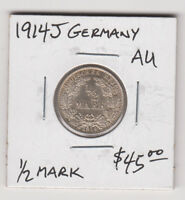 Germany Empire 1/2 Mark Silver Coin 1914 J KM17 Rare Grade AU+ Europe Free Post