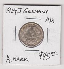Germany Empire 1/2 Mark Silver Coin 1914 J KM17 Rare Grade AU+ Europe Free Post