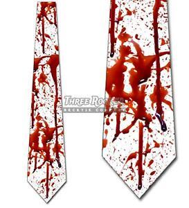 Blood Splatter Necktie Halloween Tie Horror Gore Men's Scary Neckties NWT