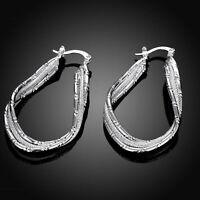 Boucles d'oreilles créoles en forme de U torsadées en argent sterling 925