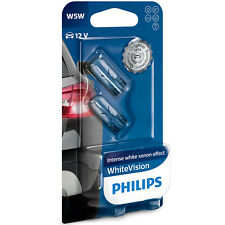 PHILIPS White Vision W5W Xenon Effect 12V T10 Side Light Bulbs Interior Pair
