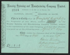 Mossley Spinning & Manufacturing Co. Ltd, QUOTA DI £ 5, 1875