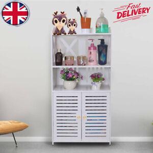 Wooden Bathroom Cabinet Shelf Cupboard Bedroom Storage Unit Free Standing UK
