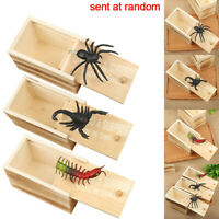 Wooden Tricky Toy Prank Spider Scorpion Insect Scary Box Case Joke Gifts