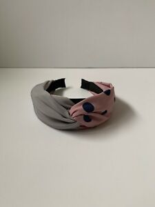Grey Pink & Blue Spot Dot Printed Knot Head Band Statement Hair Accessories