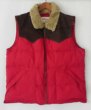 Fossil 54 Down Vest Red Leather Trim Full Zip Pockets Size L