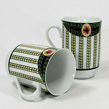 Georges Briard Victorian Christmas 8oz Cup Mug Set 2Pc Mint Holly Poinsettia