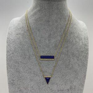 STELLA & DOT Pair Necklace Gold Tone Chain Geometric Summer Party Layering Blue