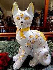 "Life Size Hm Orig Ceramic Cat Figurine Big 14+T x10+"" Yellow Flowers Hvy Italy!"
