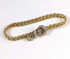 Estate Solid 585 14K Gold Rope Chain Diamond Buckle Clasp Bracelet 14.2g ~ NR!