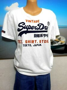 Superdry  white graphic tee shirt, soft cotton, sz. 10-12/S