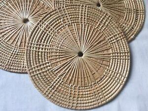 "3 Pcs Round Rattan Wicker Straw Placemats Trivet Hot Pads Holder 8.5"" Diameter"