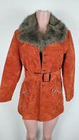 Vintage 70s Disco Faux Fur Genuine Rust Orange Suede Leather Jacket Coat XS