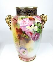 Nippon Porcelain Vase Hand Painted Floral & Gold Maple Leaf Mark 1891-1911