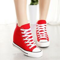Hot Womens Hidden Wedge Canvas High Top Trainers Lace Up Sneakers Shoes Plimsoll