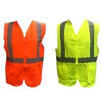 Men's Unisex HI VIS Zip Up Safety Vest Reflective Tape Workwear w Pockets Lime/O