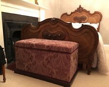 EXCEPTIONAL ANTIQUE FRENCH ROCOCO WALNUT DOUBLE BED HAND CARVED LOUIS XV